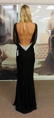 Black Bateau Spandex Evening Dresses Backless Long Sleeves  Prom Dresses_2