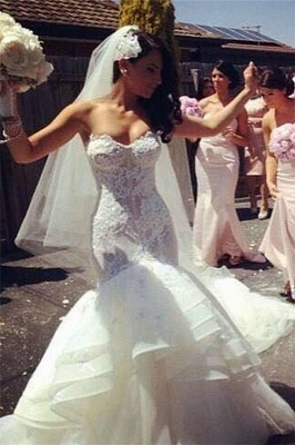 Strapless  Sexy Wedding Dresses Puffy Skirt Lace Sweetheart Bridal Gowns_1