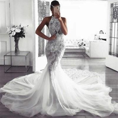 Elegant Sleeveless Halter Wedding Dresses | Sexy Mermaid Tulle Bridal Dresses_3