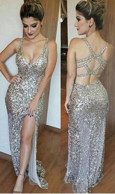 Silver Shiny Sequins Evening Dress   Open Back Formal Dress with Slit BA6340_1