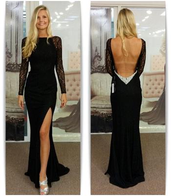 Black Bateau Spandex Evening Dresses Backless Long Sleeves  Prom Dresses_3