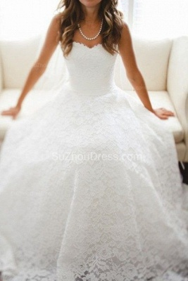 Vintage Bridal Dresses Semi Sweetheart Appliques Elegant A Line Sleeveless Backless Lace Wedding Gowns_1