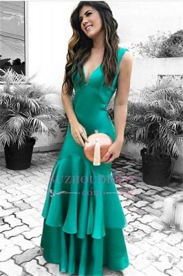 Green Sleeveless Prom Dresses   Open Back Ruffles Sexy Evening Dresses_4