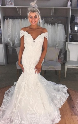 Glamorous Mermaid Off-the-Shoulder Wedding Dresses  Lace Bridal Gowns_1
