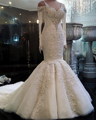 Vintage Lace Wedding Dresses with Sleeves Mermaid Long Sleeve Bridal Gowns On Sale_1