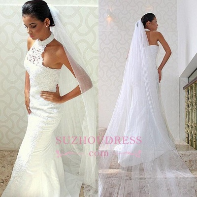 Halter Mermaid Lace Chic Sexy Sleeveless Court-train Wedding Dress_1