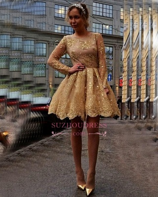 Gold Lace Appliques Long Sleeves Party Gowns  Short  Homecoming Dresses BA7971_1