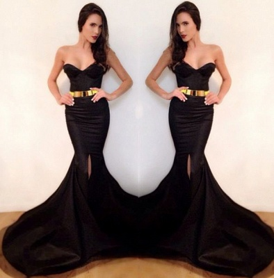 Sexy Mermaid Black Simple Long Evening Dresses Sweetheart Alluring  Sweep Train Evening Party Gowns with Belt_2