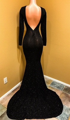 Open Back Black Long Sleeve Prom Dress  | Sequins Sheath Evening Dress with Long Train_4