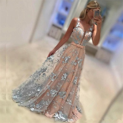 Sleeveless Appliques  Prom Dresses Baby Pink Blue Flowers Illusion Formal Evening Dress_3