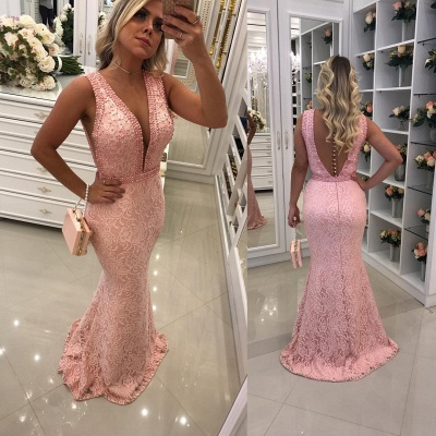 Sexy V-Neck Pink Lace Prom Dresses | Sleeveless Mermaid Evening Dresses with Beadings SK0160-BMT_3