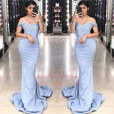 Lace Off-the-shoulder Mermaid Evening Dress    Appliques SWeep Train Prom Dresses_1