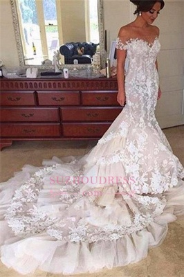 Mermaid Appliques Buttons Tulle Off-the-Shoulder Tiered Elegant 2016 Wedding Dress BA4118_3