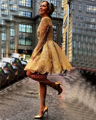 Gold Lace Appliques Long Sleeves Party Gowns  Short  Homecoming Dresses BA7971_4