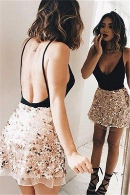 Sexy Backless V-neck Mini Homecoming Dress  Champagne Sequins  Short Party Dress_1