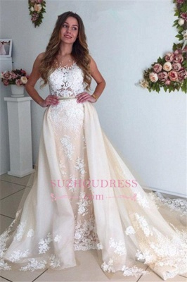Gorgeous Lace Detachable Bride Dress  Cathedral Train Mermaid Tulle Champagne Wedding Dresses_6