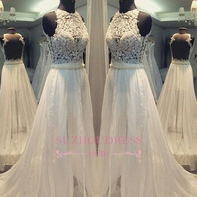 A-line Sleevess Simple Scoop Sweep-train Hollow Wedding Dress_1
