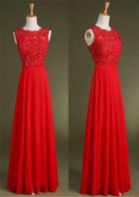 Red Chiffon Long Prom Dress with Beadings Nwe Arrival Custom Made Tulle Special Occasion Dresses_1