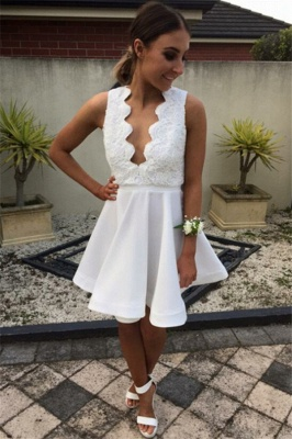 Open Back V Neck White Homecoming Dress   Lace Mini Prom Party Dress_1