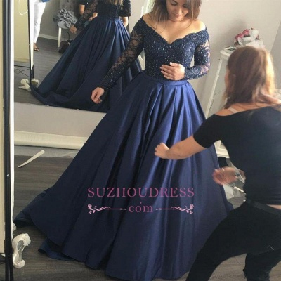 Long-Sleeves Lace Elegant Off-the-Shoulder Navy-Blue  Prom Dress_1
