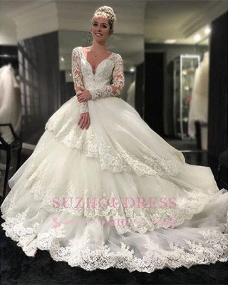 Delicate Lace Appliques Long Sleeve Wedding Dresses  Tiered Ball Gown Bridal Dress_1