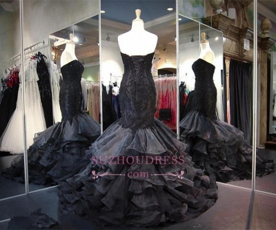 Sweetheart Lace-up Black Prom Dress  Ruffles Sleeveless Sweep-Train Modern Evening Gown_1