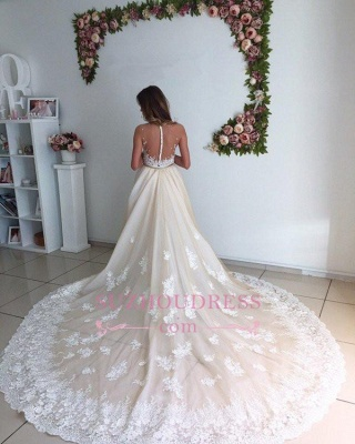 Gorgeous Lace Detachable Bride Dress  Cathedral Train Mermaid Tulle Champagne Wedding Dresses_4