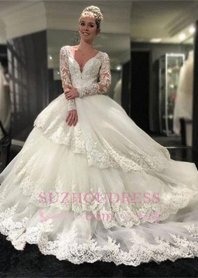 Delicate Lace Appliques Long Sleeve Wedding Dresses  Tiered Ball Gown Bridal Dress_2