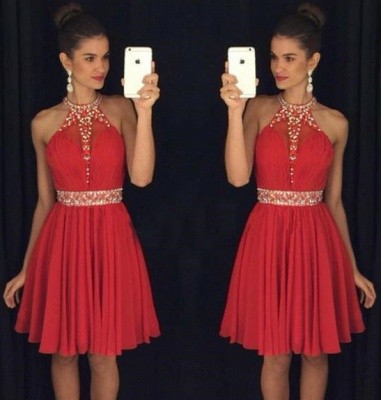 Crystal Halter Red Mini Homecoming Dresses Sleeveless Chiffon Short Summer Gowns_3