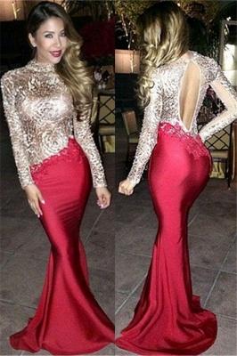 Shiny Champagne Open Back Prom Dress  | Long Sleeve Mermaid Sexy Evening Dress_1