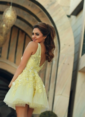 Cute Yellow Flowral Appliques Eveninf Dress Lace Mini Homecoming Dress MH017_3