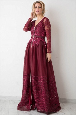 Burgundy Long Sleeve Evening Dress  V-neck Beads Lace Appliques Popular Prom Dresses_1