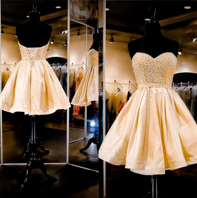 Sweetheart A-Line Beading Mini Cocktail Gowns Natural Lace-Up Short Homecoming Dresses_3