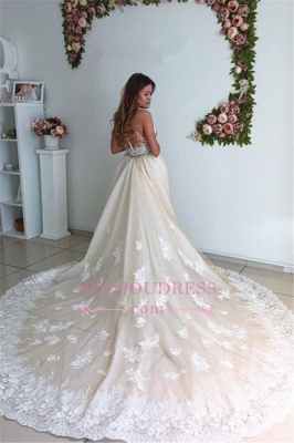 Gorgeous Lace Detachable Bride Dress  Cathedral Train Mermaid Tulle Champagne Wedding Dresses_5