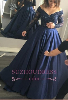 Long-Sleeves Lace Elegant Off-the-Shoulder Navy-Blue  Prom Dress_2