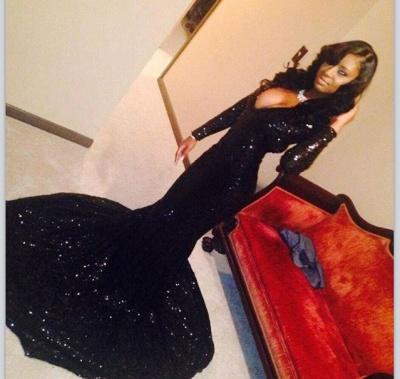 Sexy Deep V-neck Black Sequins Evening Dresses Mermaid Long Sleeve  Prom Dress CE047_2
