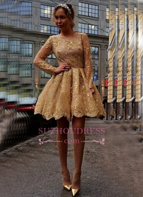 Gold Lace Appliques Long Sleeves Party Gowns  Short  Homecoming Dresses BA7971_2