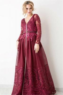 Burgundy Long Sleeve Evening Dress  V-neck Beads Lace Appliques Popular Prom Dresses_3