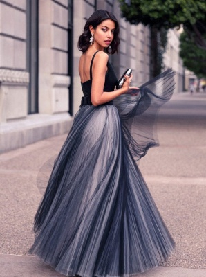 Simple V-Neck Floor Length Prom Dress A-Line Tulle Bowknot Formal Occasion Dresses_3