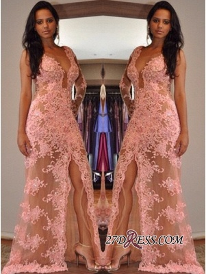 New Arrival One-Shoulder Tulle Sexy Front-Split V-Neck Appliques Prom Dress_2