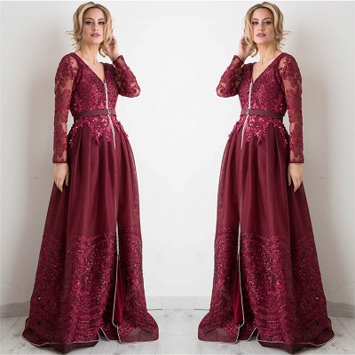 Burgundy Long Sleeve Evening Dress  V-neck Beads Lace Appliques Popular Prom Dresses_4