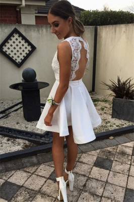 Open Back V Neck White Homecoming Dress   Lace Mini Prom Party Dress_2