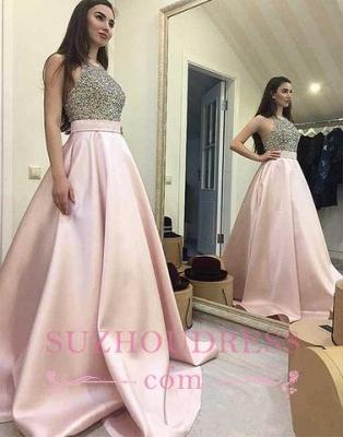 Pink Elegant Round-neck  A-line Sweep-train Sequin Beading Prom Dress BA5289_3