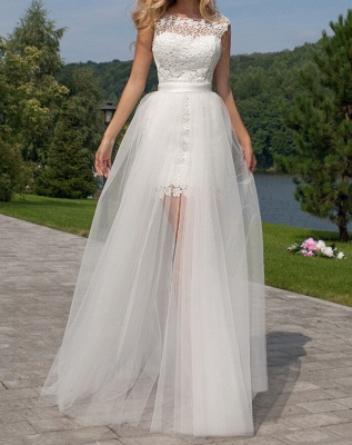 Cute Halter Short Lace Bridal Dresses with Detachable Tulle Open Back Wedding Dress_5