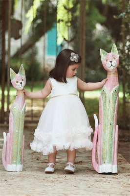 Latest White Flowers Tea Length Flower Girl Dress Cute Tulle Bowknot Short Girl Dresses_1