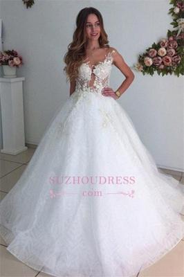 Lace A-Line Tulle Appliques  Bride Dress Beach Court-Train White Wedding Dresses_5