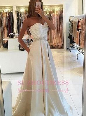 A-line Sweetheart Lace Ivory Prom Dresses  Beading Belt Evening Dress BA4858_2