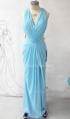Chiffon Long Ruffle V-neck Blue Evening Dress Sexy Chiffon  Open Back Summer Beach Prom Dress_3