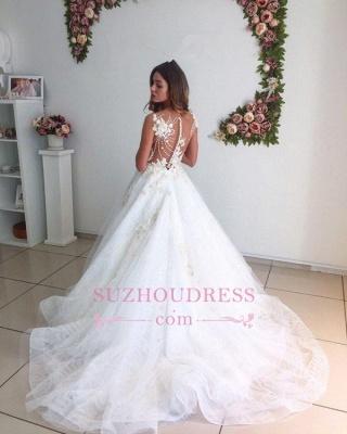 Lace A-Line Tulle Appliques  Bride Dress Beach Court-Train White Wedding Dresses_4
