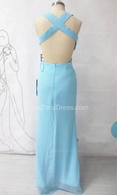 Chiffon Long Ruffle V-neck Blue Evening Dress Sexy Chiffon  Open Back Summer Beach Prom Dress_2